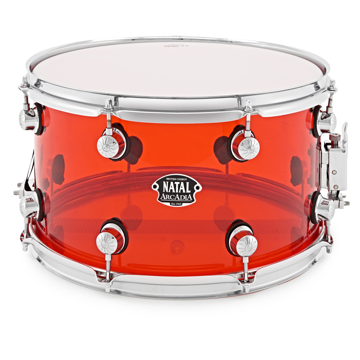 Natal Arcadia 14 X 8 Acrylic Snare Transparent Red Box Opened At Electrical Fuses On