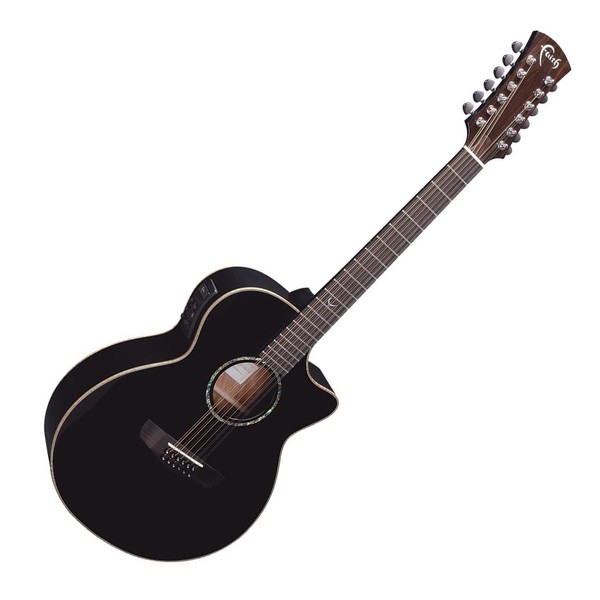 Faith Eclipse Venus 12-String Cutaway Electro Acoustic, Black Front View