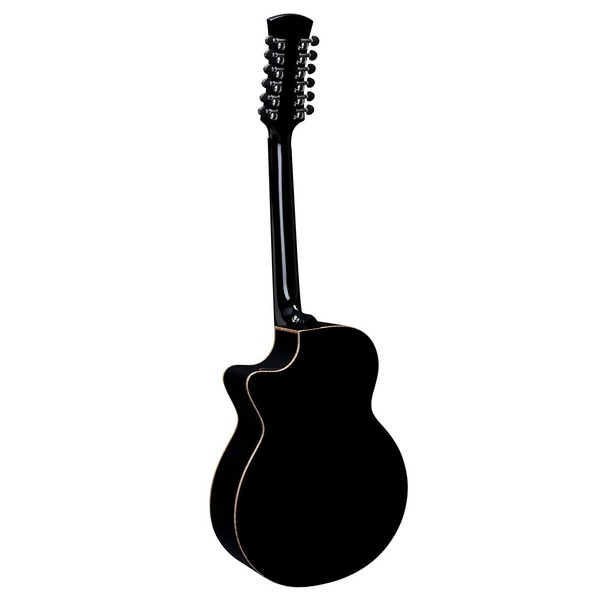 Faith Eclipse Venus 12-String Cutaway Electro Acoustic, Black Back View