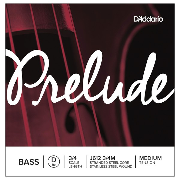 D'Addario Prelude Double Bass D String, 3/4 Size, Medium