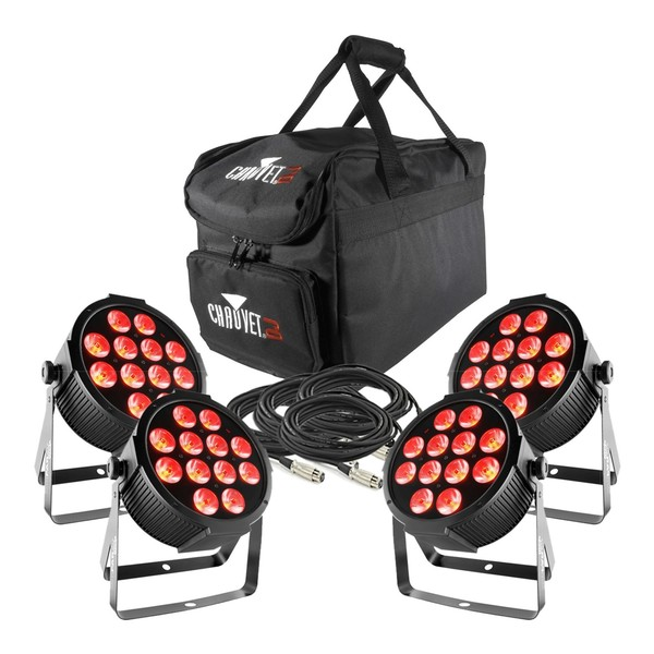 Chauvet SlimPAR Q12 4 Pack with Bag and Cables