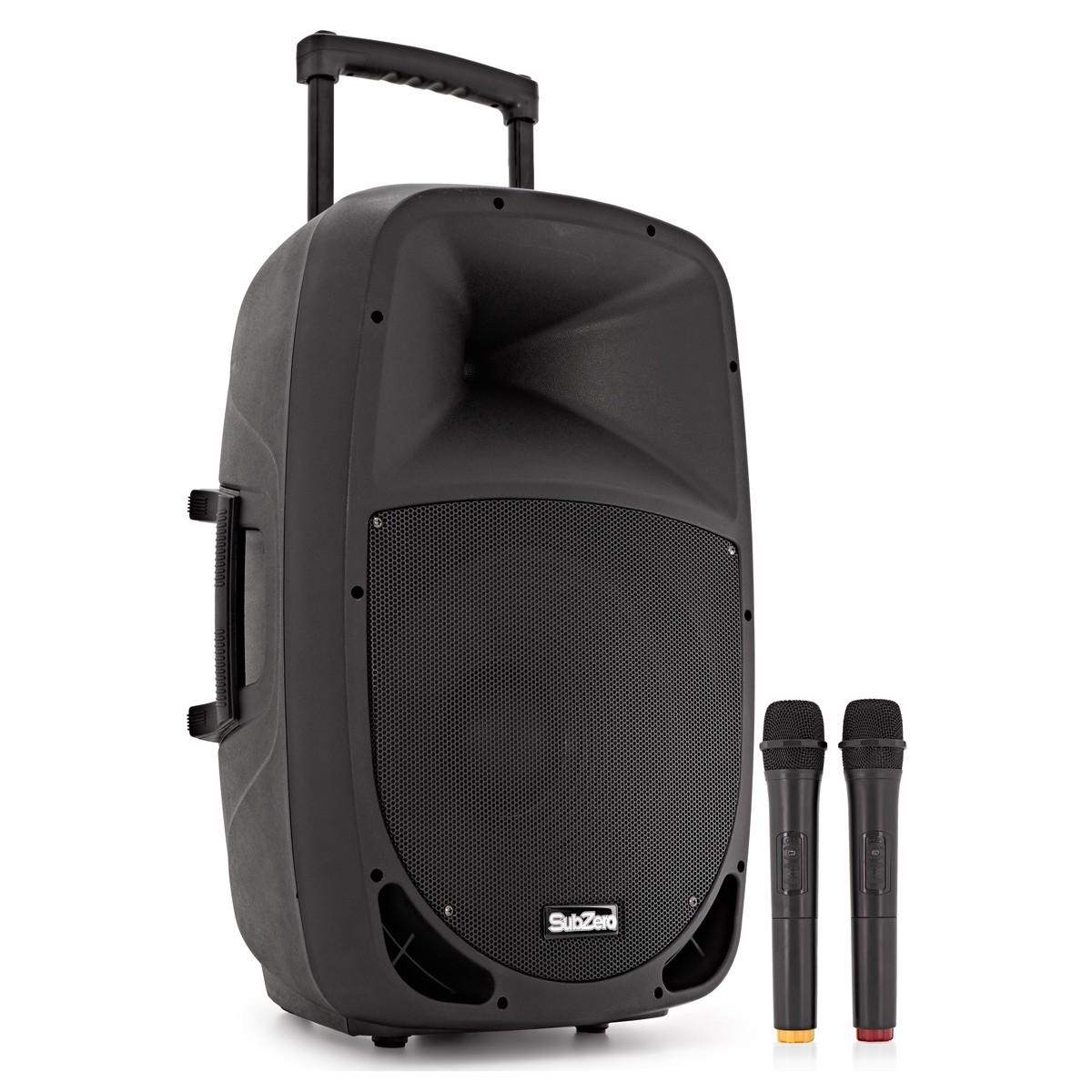 SubZero SZPA-P15 Portable PA with Bluetooth + Wireless Mics