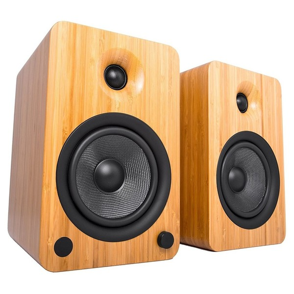 Kanto YU6 Powered Bookshelf Speakers, Bamboo - Main