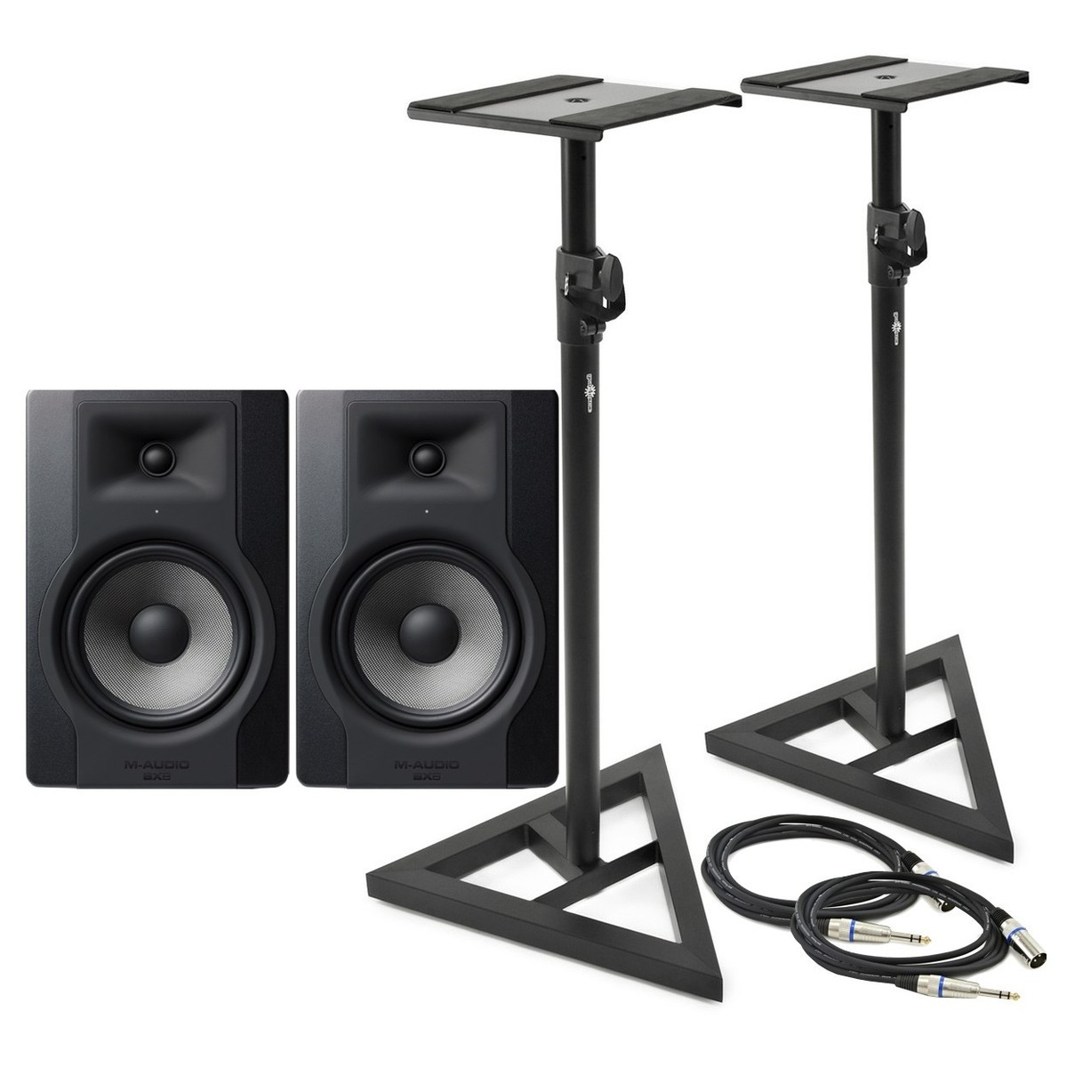 m audio bx8 d3 studio monitor pair with stands and cables at gear4music. Black Bedroom Furniture Sets. Home Design Ideas
