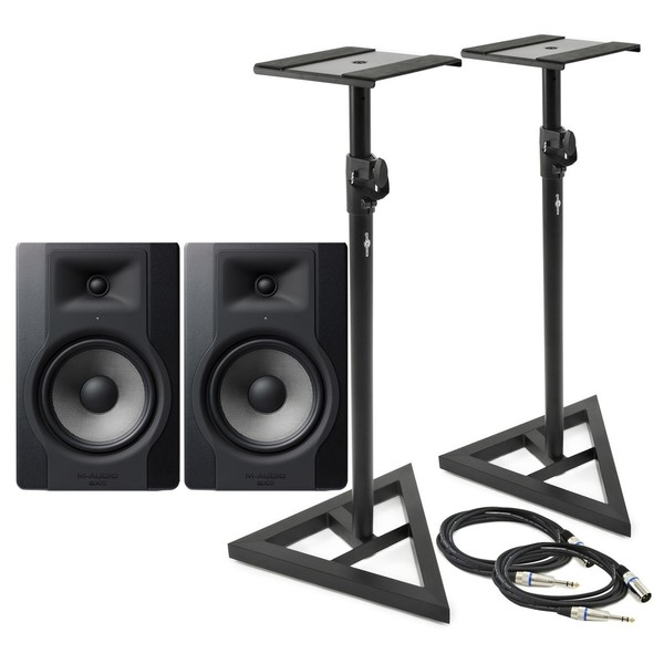 M-Audio BX8-D3 Studio Monitor Pair with Stands and Cables - Bundle