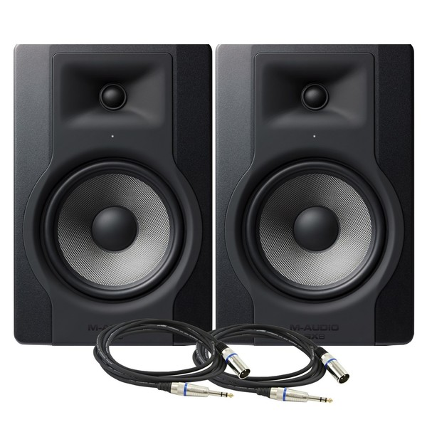 M-Audio BX8-D3 Studio Monitor Pair with Free Cables - Bundle