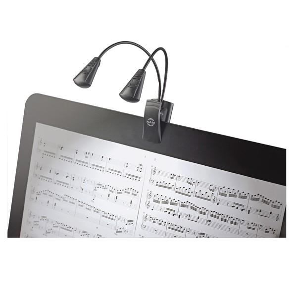 K&M 12243 Dual Music Stand Flexlight, Dual LED