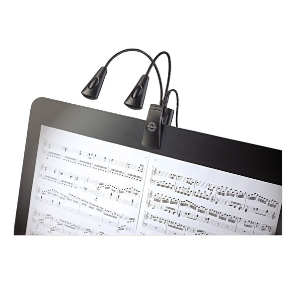 K&M 12245 Dual Music Stand Flexlight, Quad LED