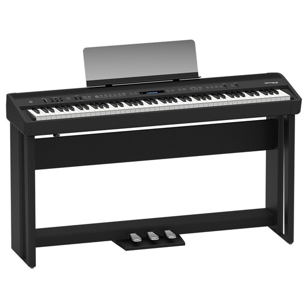 Roland FP 90 Digital Piano with Stand and Pedals, Black