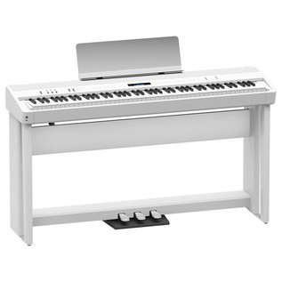 Roland FP 90 Digital Piano with Stand and Pedals, White