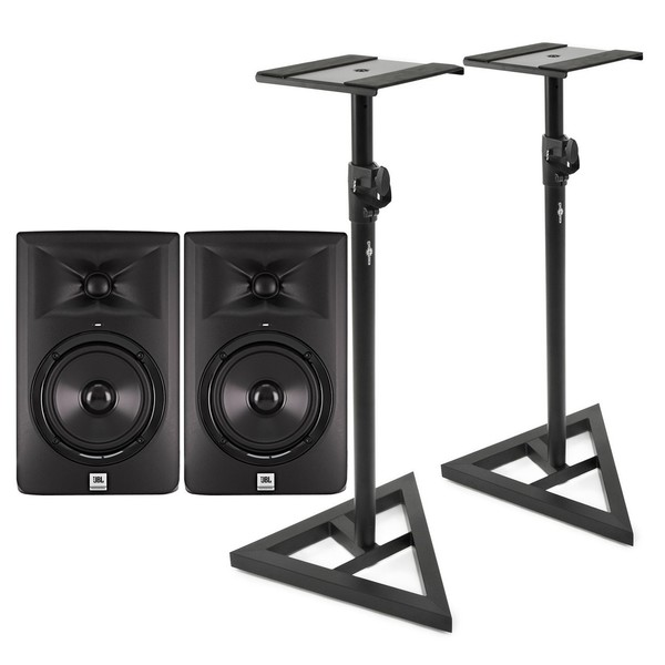 JBL LSR305 Active Studio Monitors with Stands (Pair) - Bundle
