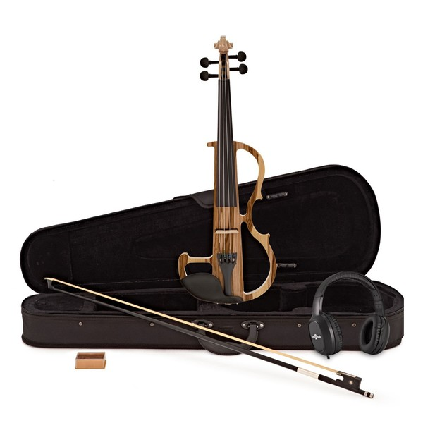 Electric Violin by Gear4music, Natural w/ Headphones