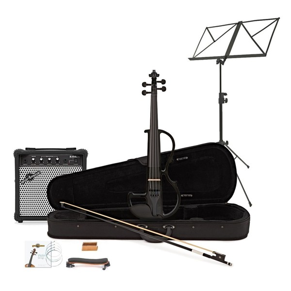 Electric Violin by Gear4music, Black w/ Amp Pack