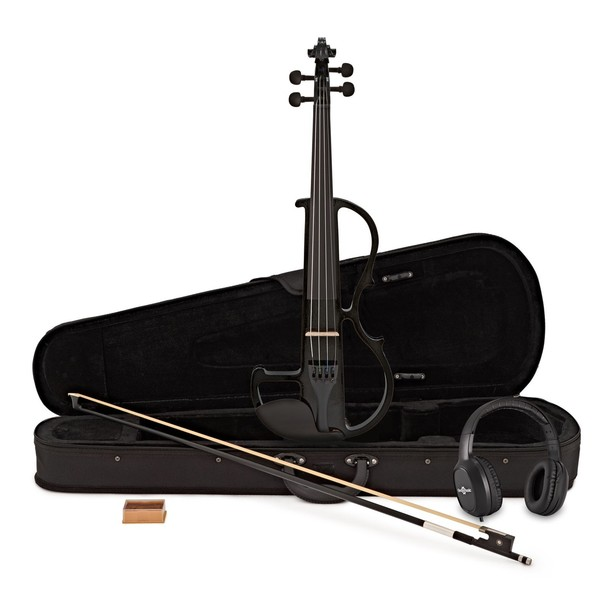 Electric Violin by Gear4music, Black w/ Headphones
