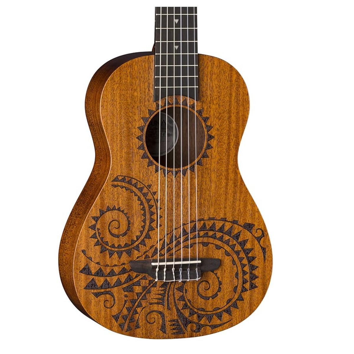 luna uke tattoo 6 string baritone mahogany box opened at gear4music