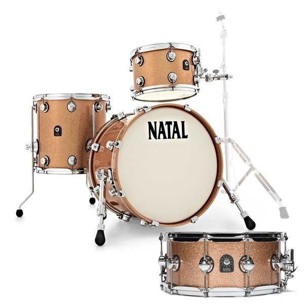Natal Café Racer 18'' Jazz Shell Pack w/Free Snare, Champagne Sparkle