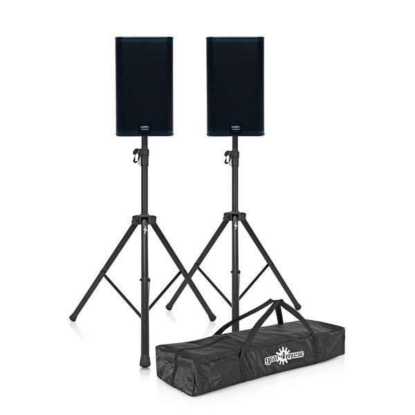 """QSC E110 10"""" Passive PA Speaker Pair with Stands"""