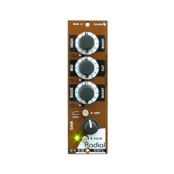 Radial Workhorse Q3 500 Series 3-Band EQ, Front
