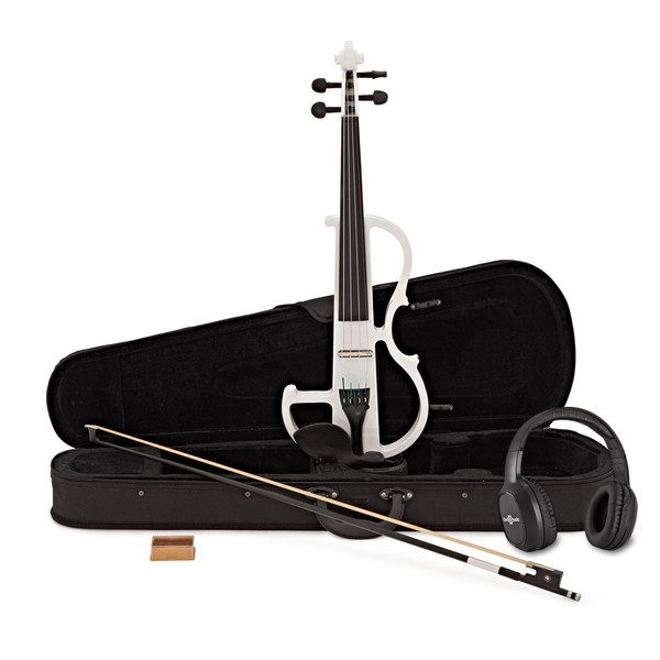 Electric Violin by Gear4music, White w/ Headphones