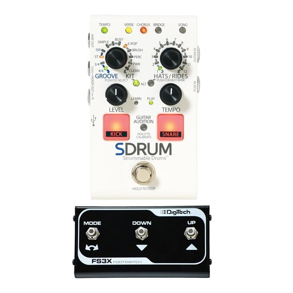 DigiTech SDRUM Strummable Drums Pedal w/ FS3X Footswitch