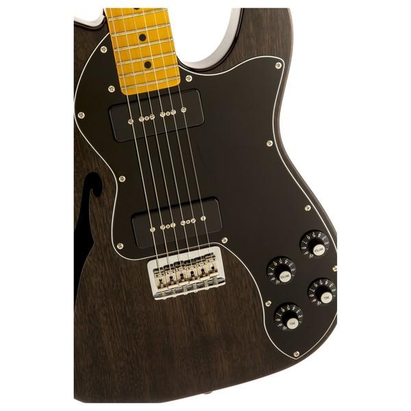 Fender Modern Player Telecaster Thinline Deluxe, Black Transparent Close