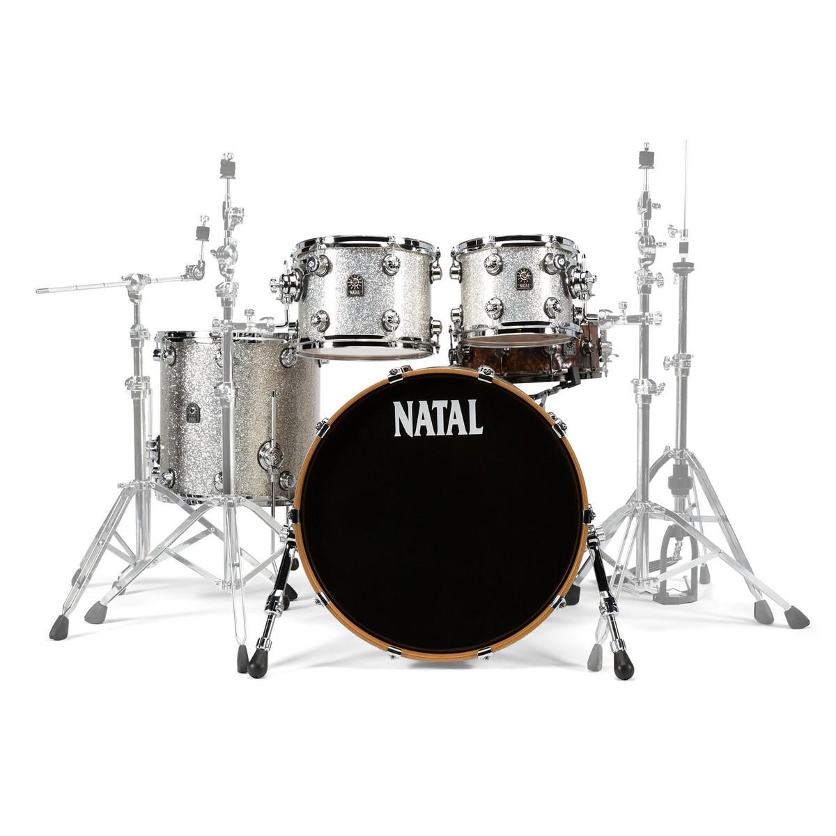 natal originals maple 22 u0026 39  u0026 39  4pc shell pack  silver sparkle