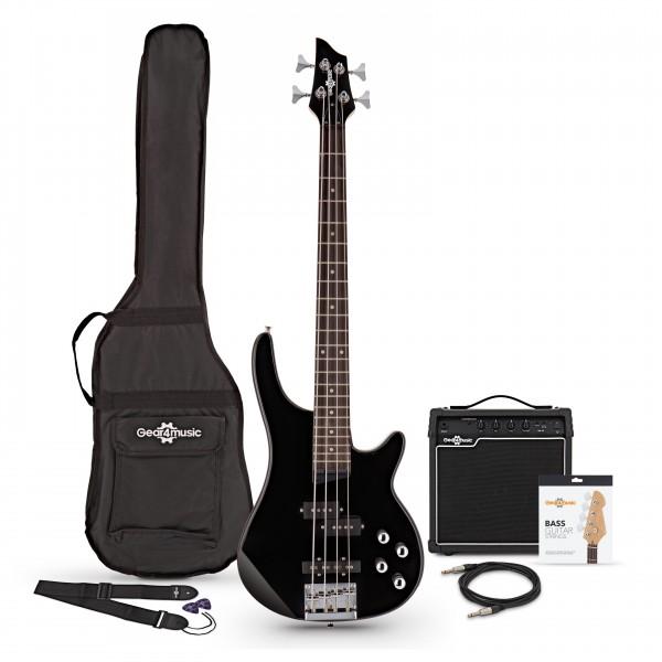 3/4 Chicago Bass Guitar + 15W Amp Pack, Black - Main Image