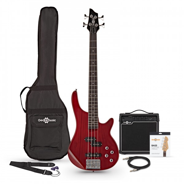 3/4 Chicago Bass Guitar + 15W Amp Pack, Trans Red