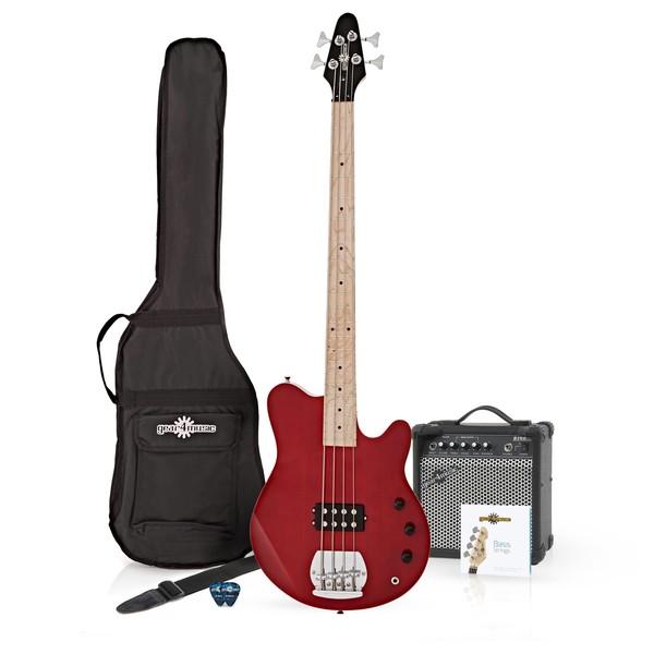 Santa Monica Bass Guitar + 15W Amp Pack, Red Santa Monica Bass Guitar + 15W Amp Pack, Red