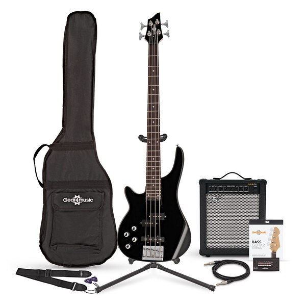 Chicago Left Handed Bass Guitar + 35W Amp Pack, Black