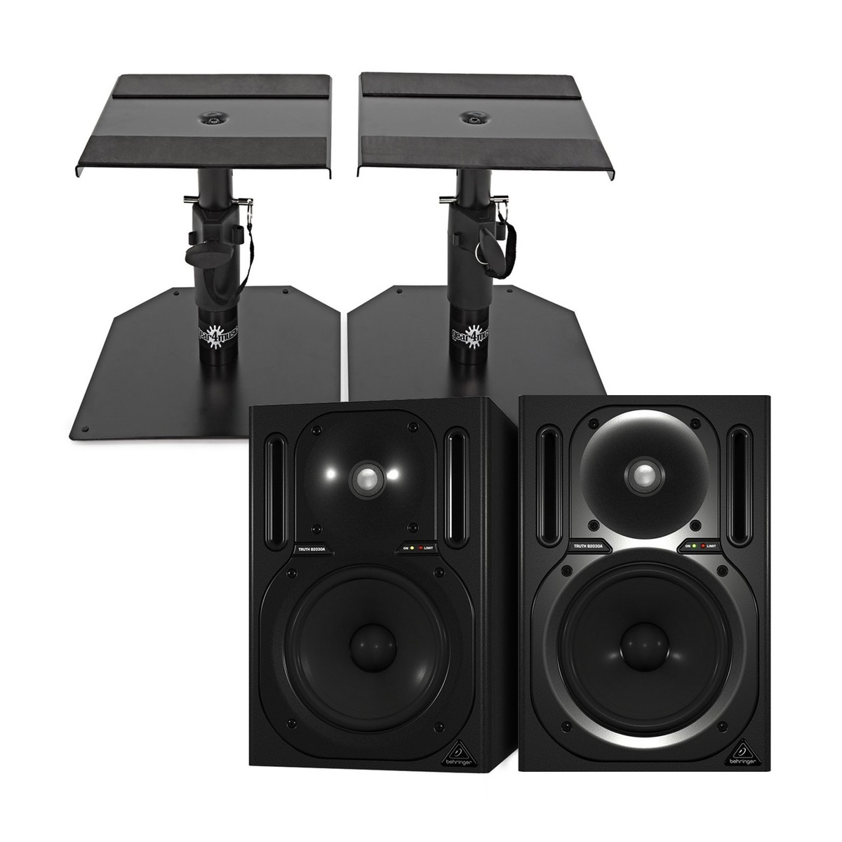 behringer b2030a truth active studio monitors pair with stands at gear4music. Black Bedroom Furniture Sets. Home Design Ideas