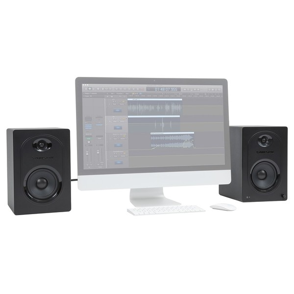 Samson MediaOne M50 Powered Studio Monitor (Pair) - With Computer (Computer Not Included)