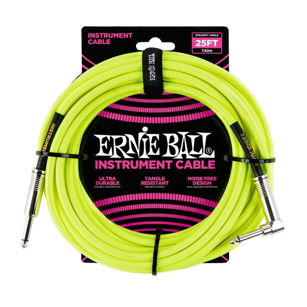 Ernie Ball 25ft Straight-Angle Braided Instrument Cable, Neon Yellow - Main