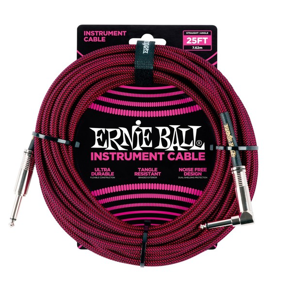 Ernie Ball 25ft Straight-Angle Braided Instrument Cable, Red - Main
