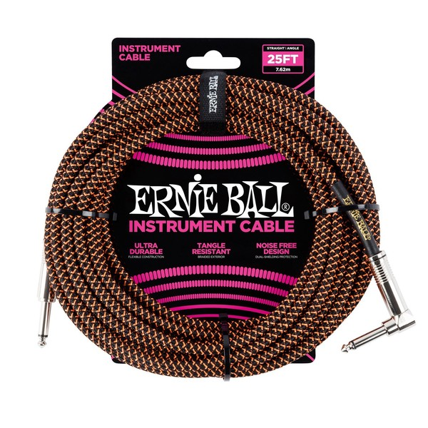 Ernie Ball 25ft Straight-Angle Braided Instrument Cable, Black/Orange - Main
