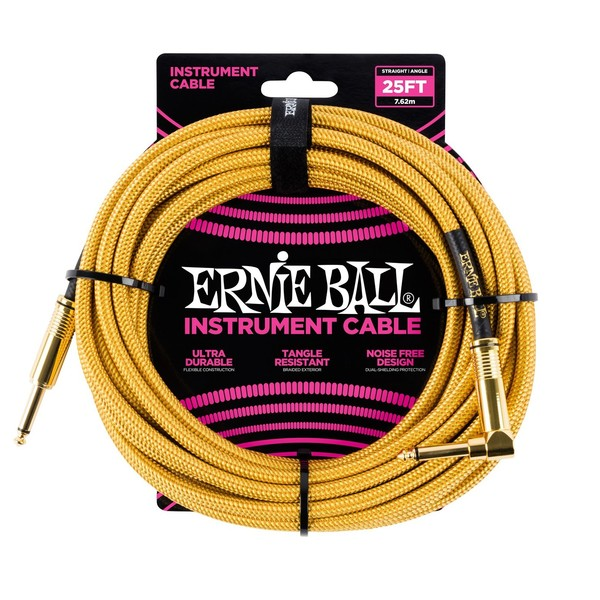 Ernie Ball 25ft Straight-Angle Braided Instrument Cable, Gold - Main