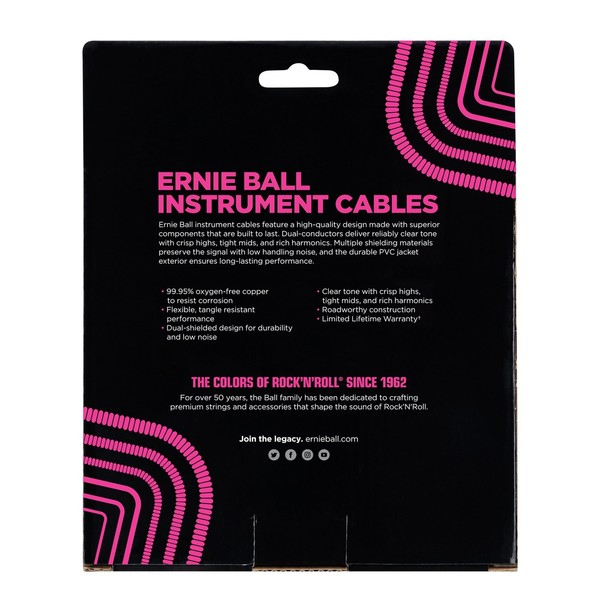 Ernie Ball 30ft Straight-Straight Coiled Instrument Cable, Black - Back