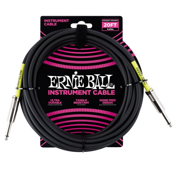 Ernie Ball 20ft Straight-Straight Instrument Cable, Black - Main