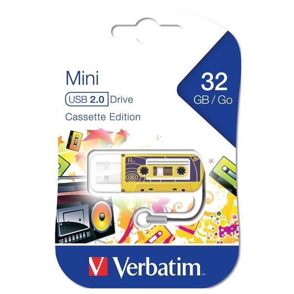 Verbatim Store'n'Go USB Drive 32GB - Cassette, Yellow - Main