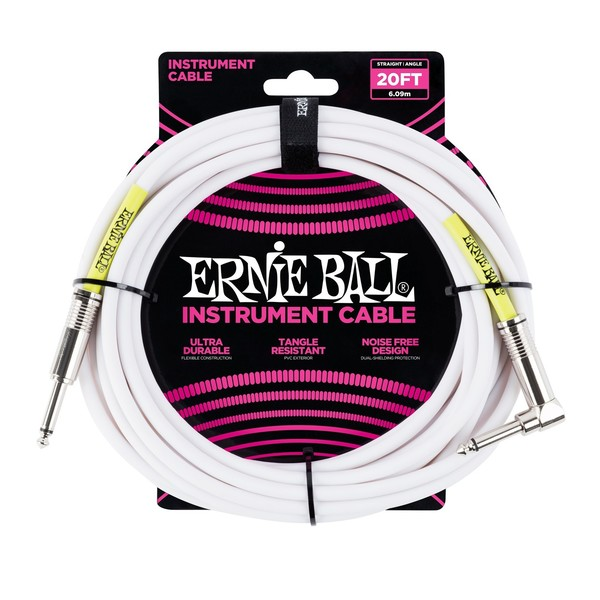Ernie Ball 20ft Straight-Angle Instrument Cable, White - Main