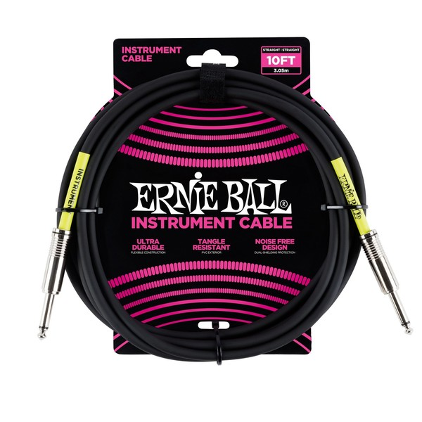 Ernie Ball 10ft Straight-Straight Instrument Cable, Black - Main