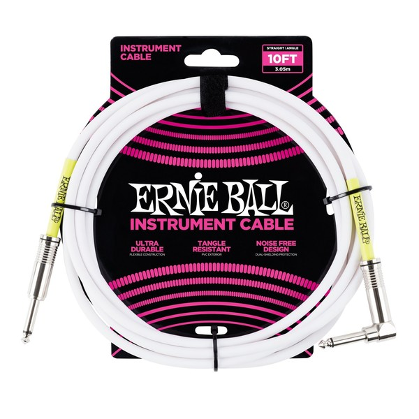 Ernie Ball 10ft Straight-Angle Instrument Cable, White - Main