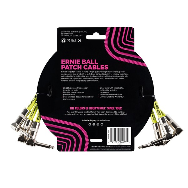 Ernie Ball 1ft Patch Cable 3 Pack, Black - Back