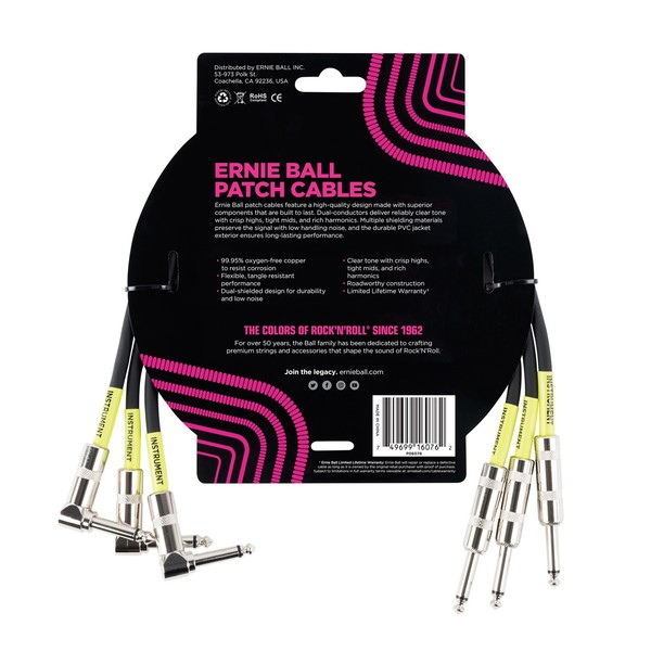 Ernie Ball 1.5ft Straight-Angle Patch Cable 3 Pack, Black - Back