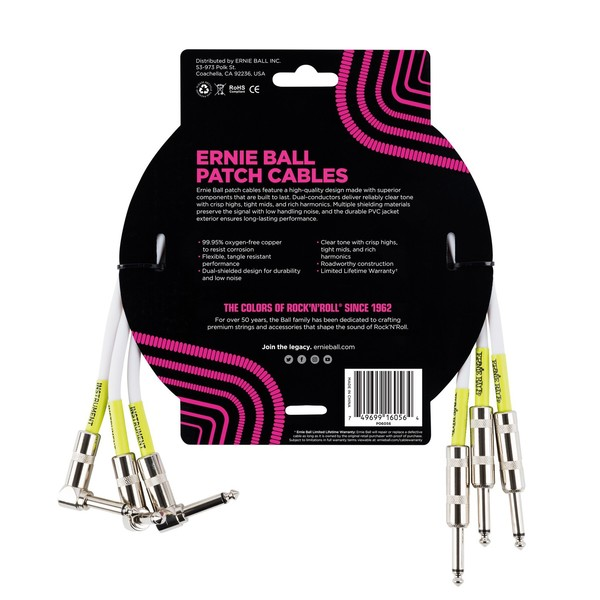 Ernie Ball 1.5ft Straight-Angle Patch Cable 3 Pack, White - Back