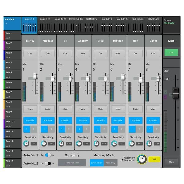 QSC TouchMix 30 Pro Digital Mixer, Auto Mixer Close-Up