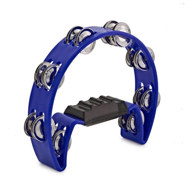 D-Shaped Tambourine by Gear4music Blue