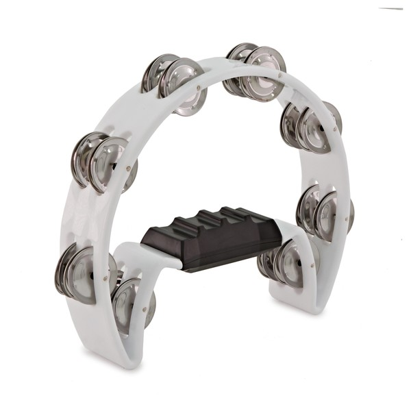 D-Shaped Tambourine by Gear4music, White