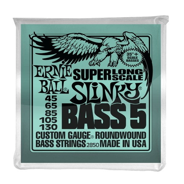 Ernie Ball Slinky Super Long Scale 5 String Bass Set, 45-130 - Front