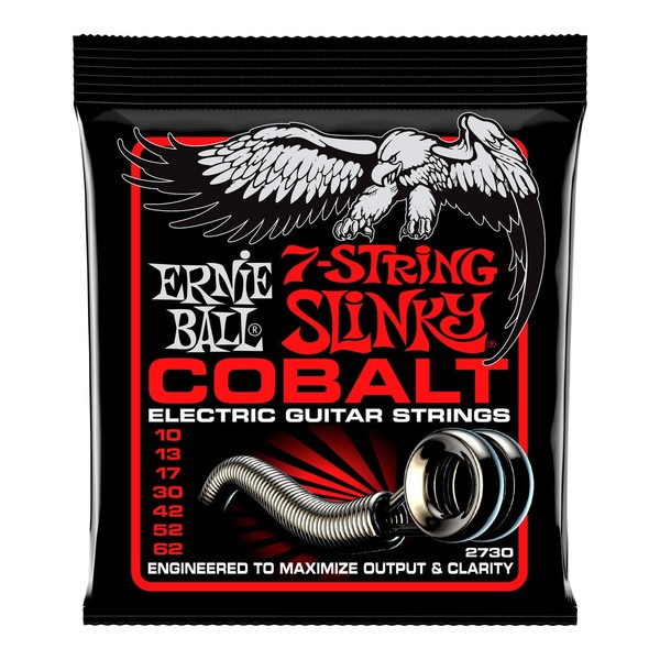 Ernie Ball Cobalt Skinny Top Heavy Bottom Slinky 7 String Set, 10-62